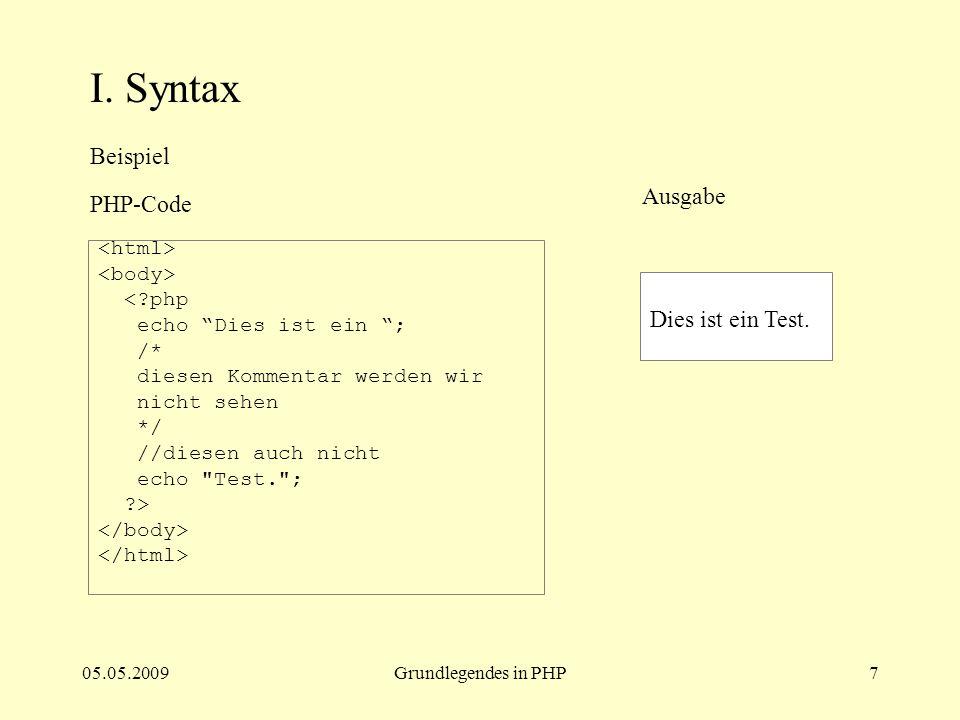 05.05.2009Grundlegendes in PHP8 II.