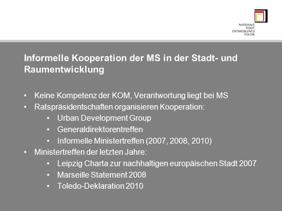 Informelle Kooperation der MS in der Stadt- und Raumentwicklung Keine Kompetenz der KOM, Verantwortung liegt bei MS Ratspräsidentschaften organisieren