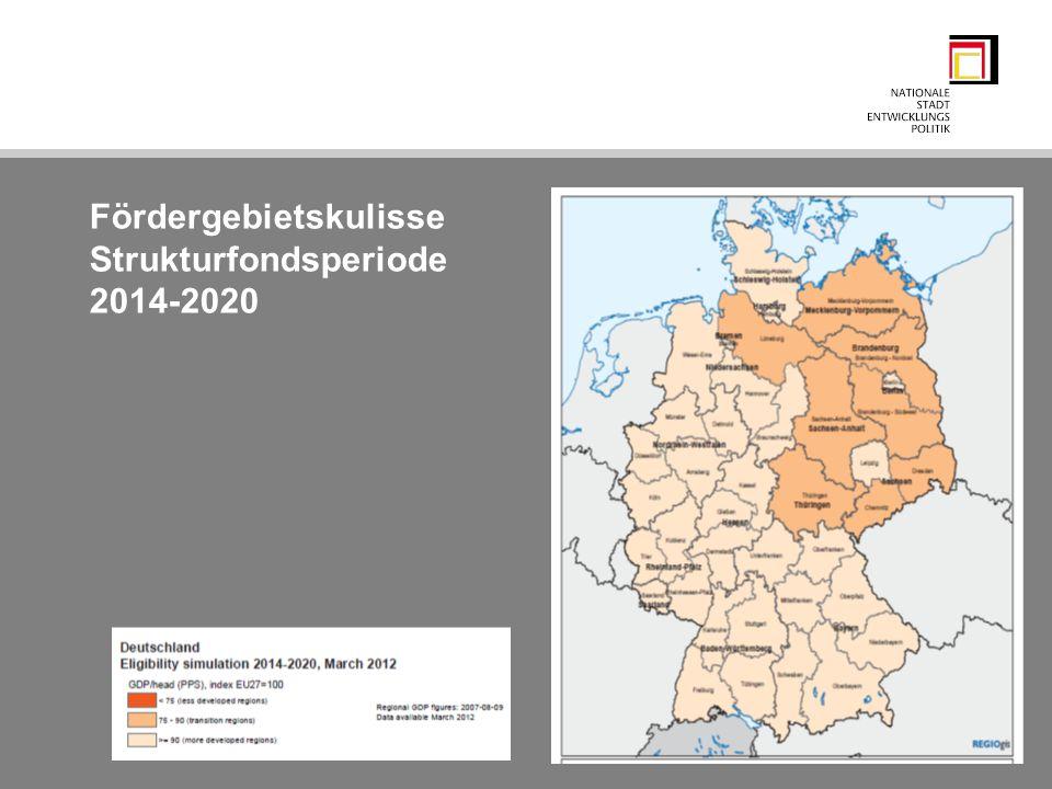 Fördergebietskulisse Strukturfondsperiode 2014-2020