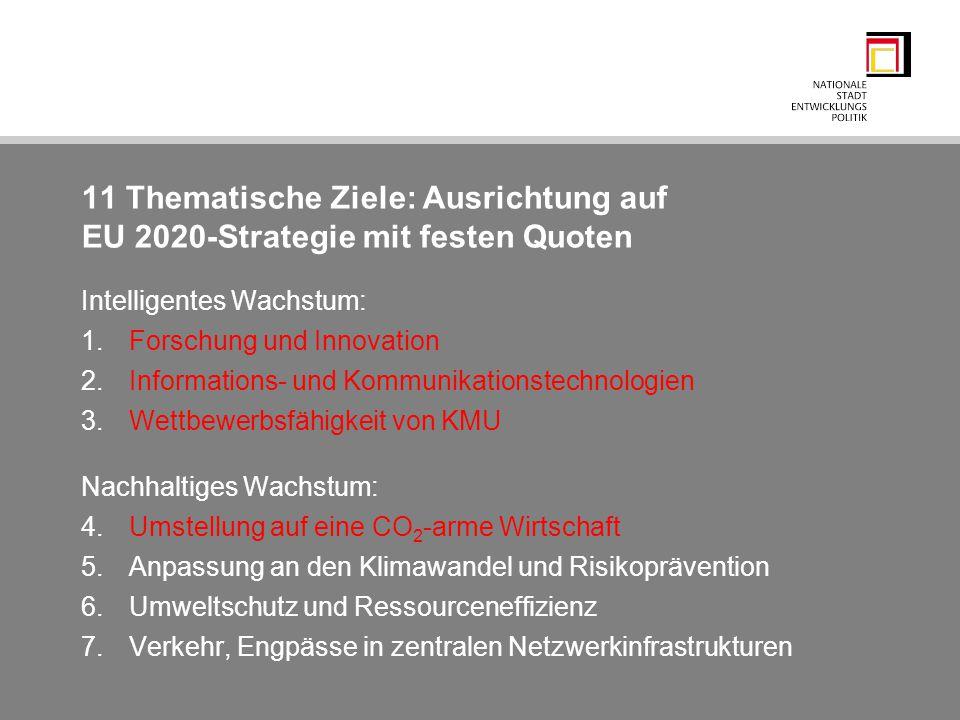 11 Thematische Ziele: Ausrichtung auf EU 2020-Strategie mit festen Quoten Intelligentes Wachstum: 1.Forschung und Innovation 2.Informations- und Kommu