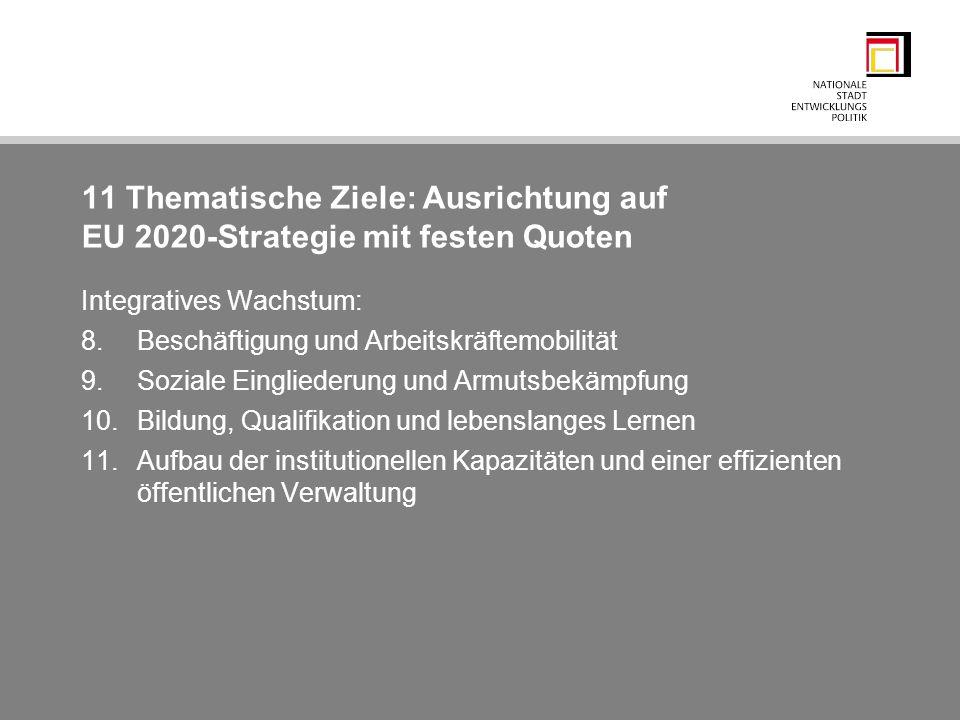 11 Thematische Ziele: Ausrichtung auf EU 2020-Strategie mit festen Quoten Integratives Wachstum: 8.Beschäftigung und Arbeitskräftemobilität 9.Soziale