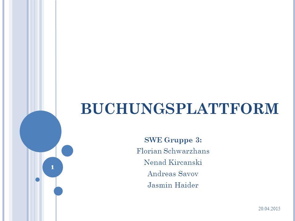 BUCHUNGSPLATTFORM SWE Gruppe 3: Florian Schwarzhans Nenad Kircanski Andreas Savov Jasmin Haider 1 20.04.2015 1