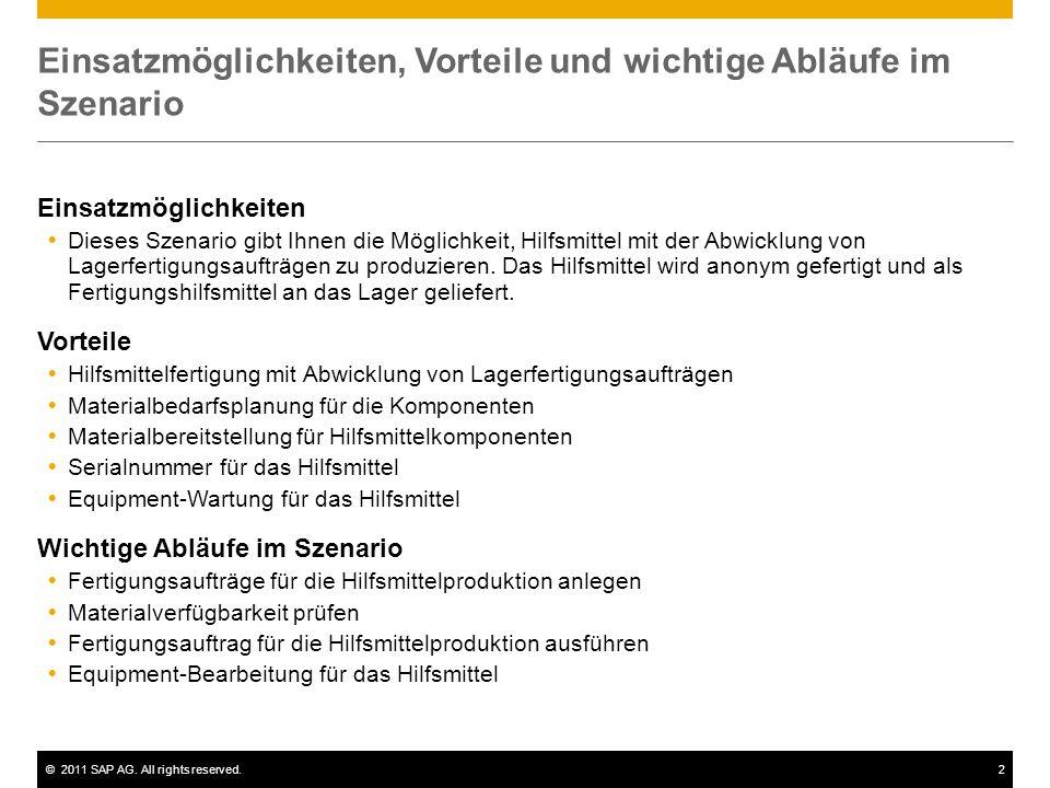 ©2011 SAP AG. All rights reserved.2 Einsatzmöglichkeiten, Vorteile und wichtige Abläufe im Szenario Einsatzmöglichkeiten  Dieses Szenario gibt Ihnen