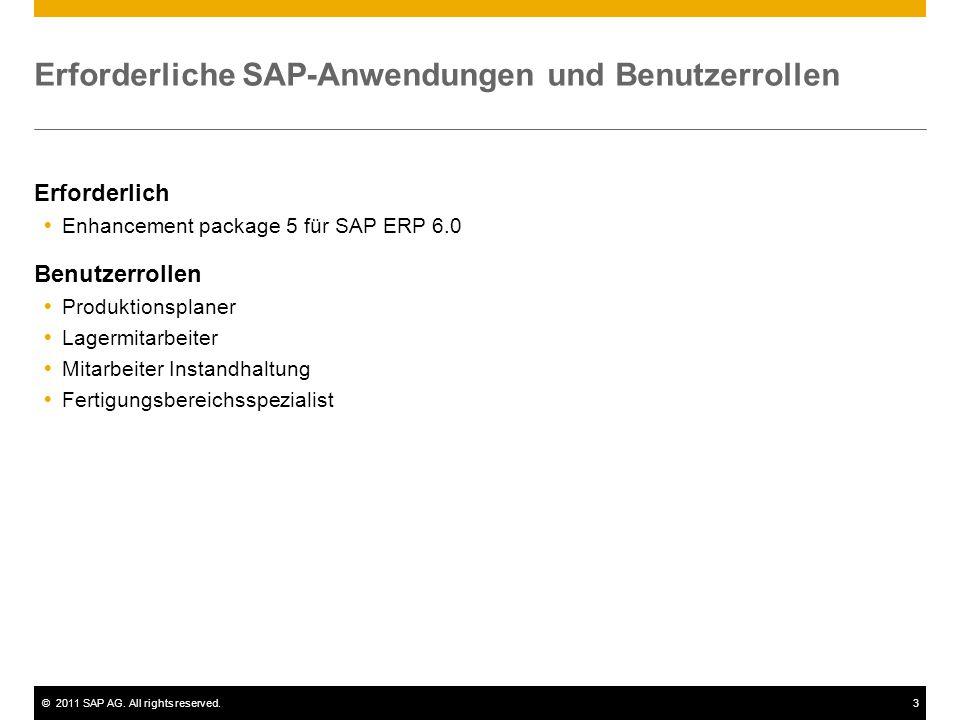 ©2011 SAP AG. All rights reserved.3 Erforderliche SAP-Anwendungen und Benutzerrollen Erforderlich  Enhancement package 5 für SAP ERP 6.0 Benutzerroll