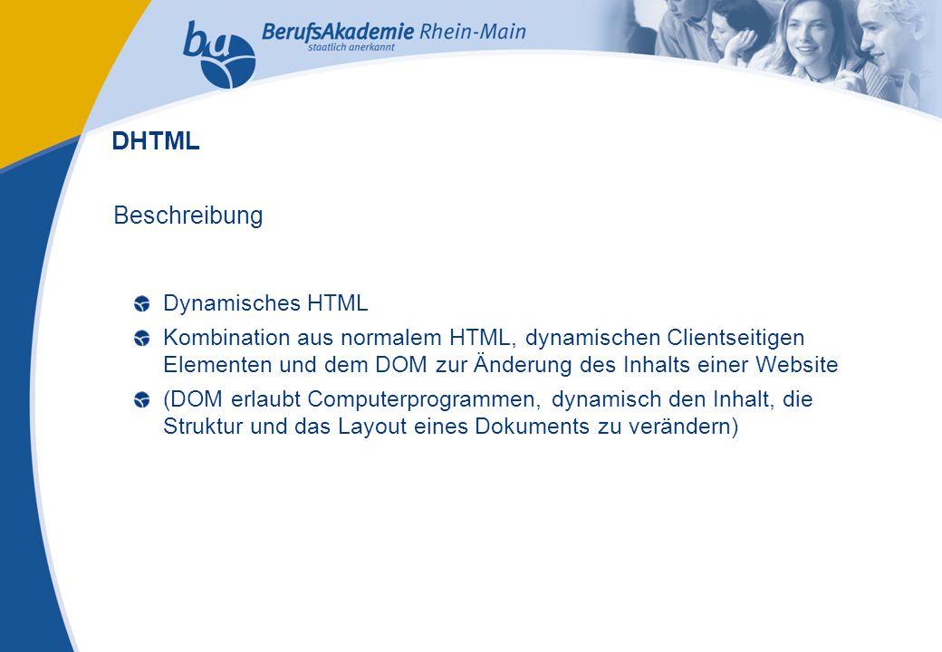 Externes Rechnungswesen Seite 11 Michael Schmitt, CFA Beschreibung Dynamisches HTML Kombination aus normalem HTML, dynamischen Clientseitigen Elementen und dem DOM zur Änderung des Inhalts einer Website (DOM erlaubt Computerprogrammen, dynamisch den Inhalt, die Struktur und das Layout eines Dokuments zu verändern) DHTML
