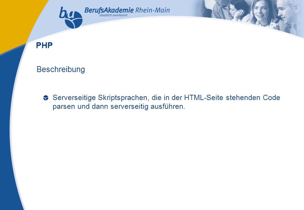 Externes Rechnungswesen Seite 20 Michael Schmitt, CFA Beschreibung Serverseitige Skriptsprachen, die in der HTML-Seite stehenden Code parsen und dann serverseitig ausführen.