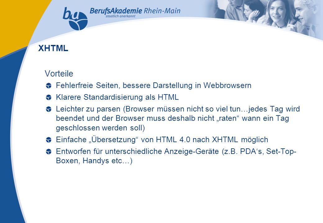 Externes Rechnungswesen Seite 10 Michael Schmitt, CFA Nachteile Aufwendige Programmierung (um fehlerfreien Code herzustellen) Nicht alle Browser können XHTML-Seiten richtig darstellen Wenig bekannt über die Entwickler (Entwicklung hinter verschlossenen Türen) XHTML