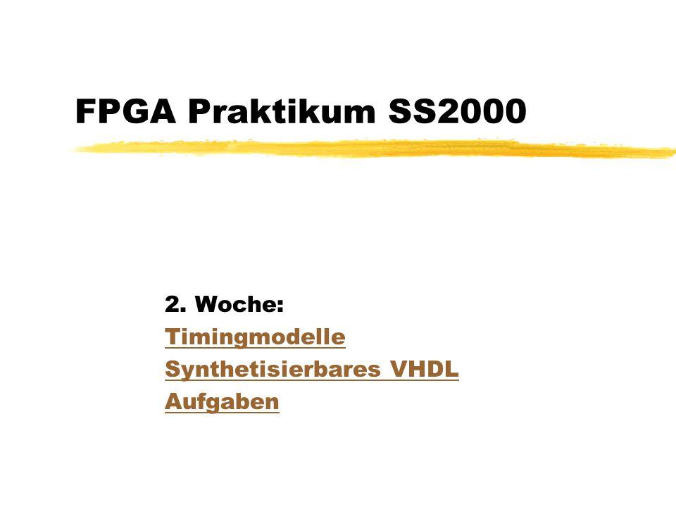 FPGA Praktikum SS2000 2. Woche: Timingmodelle Synthetisierbares VHDL Aufgaben