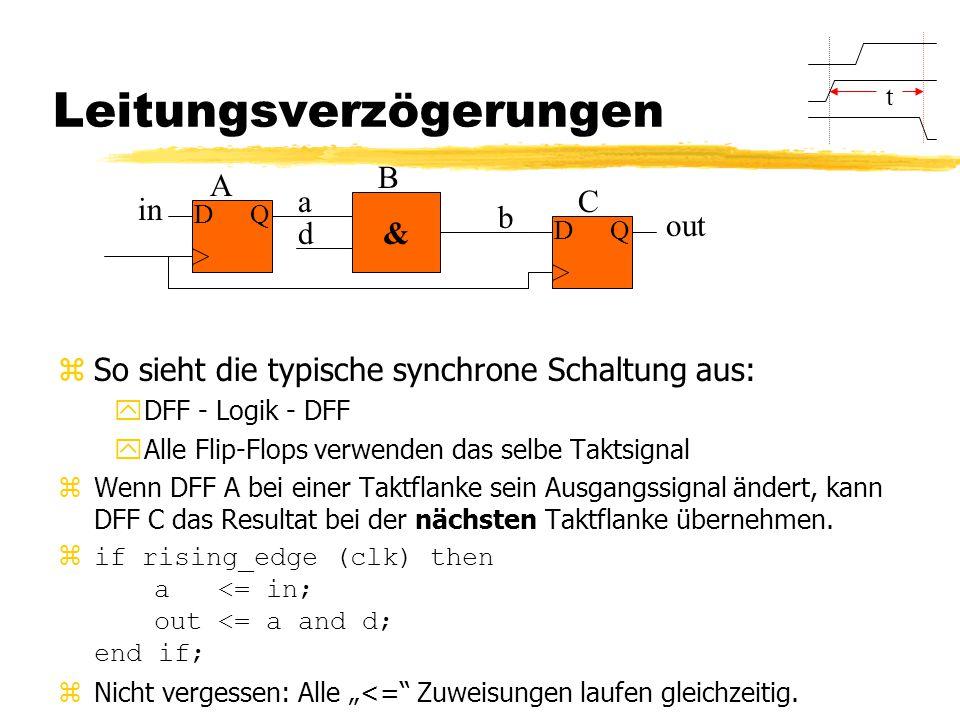 Leitungsverzögerungen zSo sieht die typische synchrone Schaltung aus: yDFF - Logik - DFF yAlle Flip-Flops verwenden das selbe Taktsignal zWenn DFF A bei einer Taktflanke sein Ausgangssignal ändert, kann DFF C das Resultat bei der nächsten Taktflanke übernehmen.