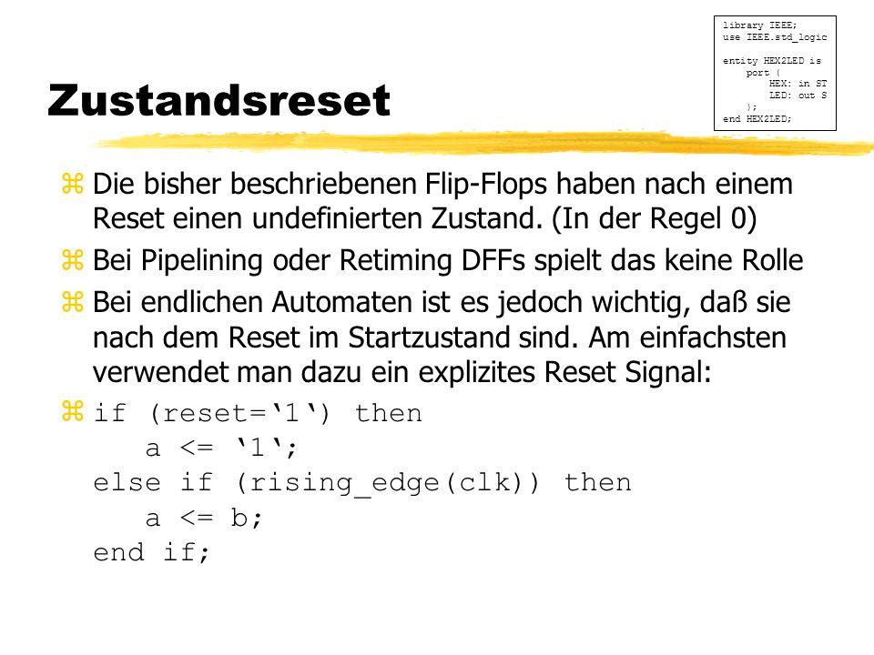 Zustandsreset zDie bisher beschriebenen Flip-Flops haben nach einem Reset einen undefinierten Zustand.