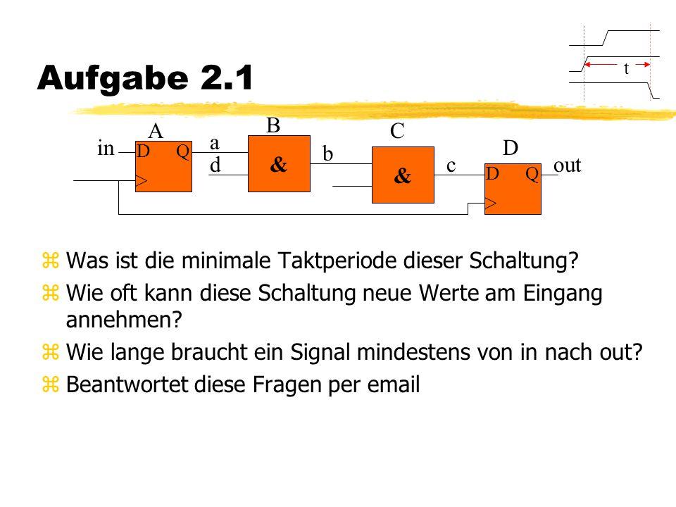 Aufgabe 2.1 zWas ist die minimale Taktperiode dieser Schaltung.