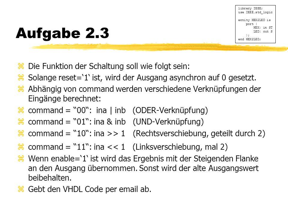 Aufgabe 2.3 zDie Funktion der Schaltung soll wie folgt sein: zSolange reset='1' ist, wird der Ausgang asynchron auf 0 gesetzt.