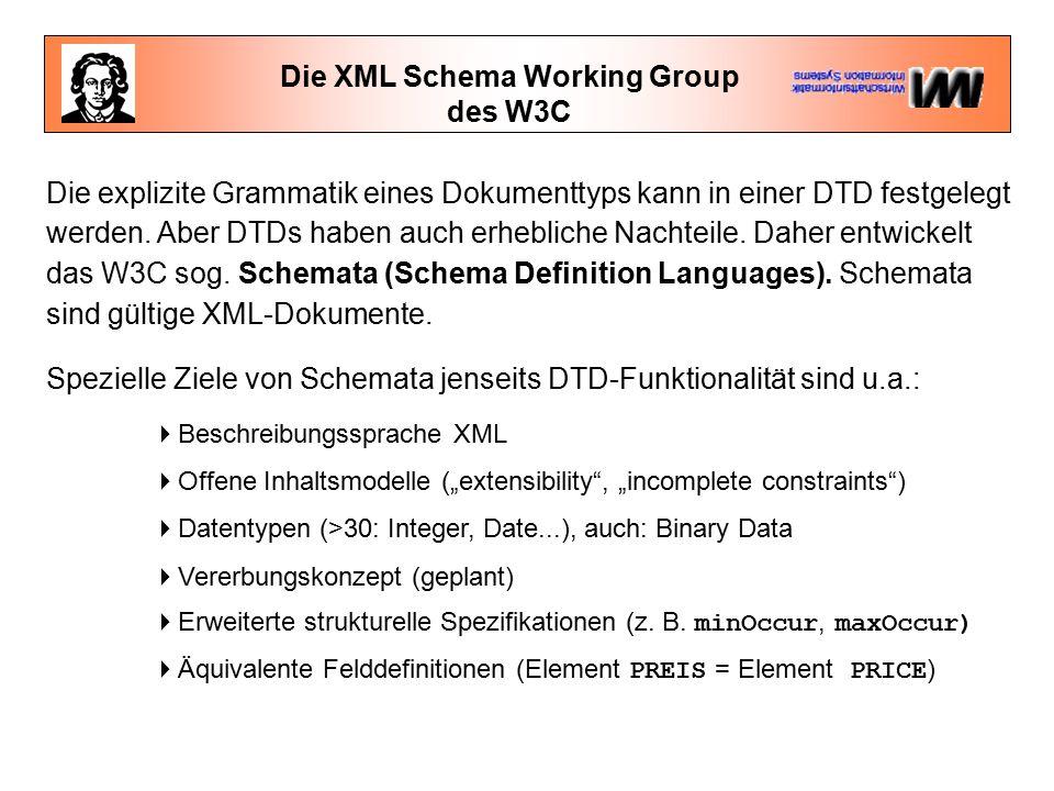 Die XML Schema Working Group des W3C Die explizite Grammatik eines Dokumenttyps kann in einer DTD festgelegt werden.