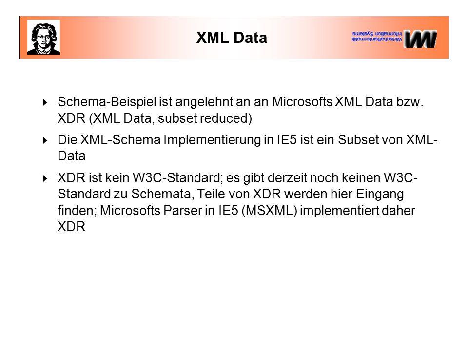 XML Data  Schema-Beispiel ist angelehnt an an Microsofts XML Data bzw.