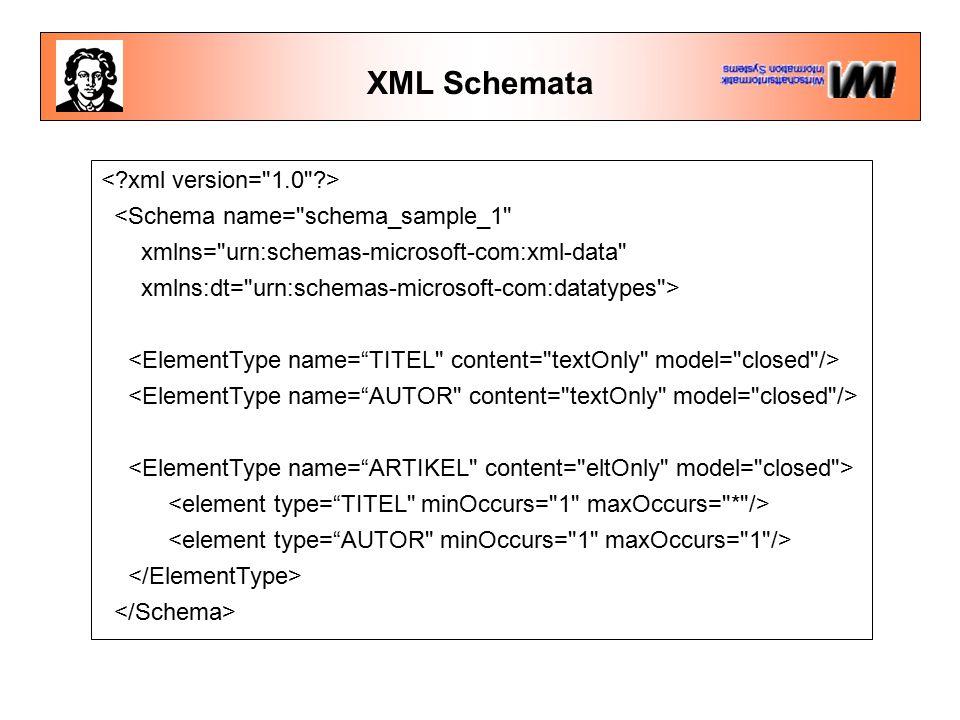 XML Schemata <Schema name= schema_sample_1 xmlns= urn:schemas-microsoft-com:xml-data xmlns:dt= urn:schemas-microsoft-com:datatypes >