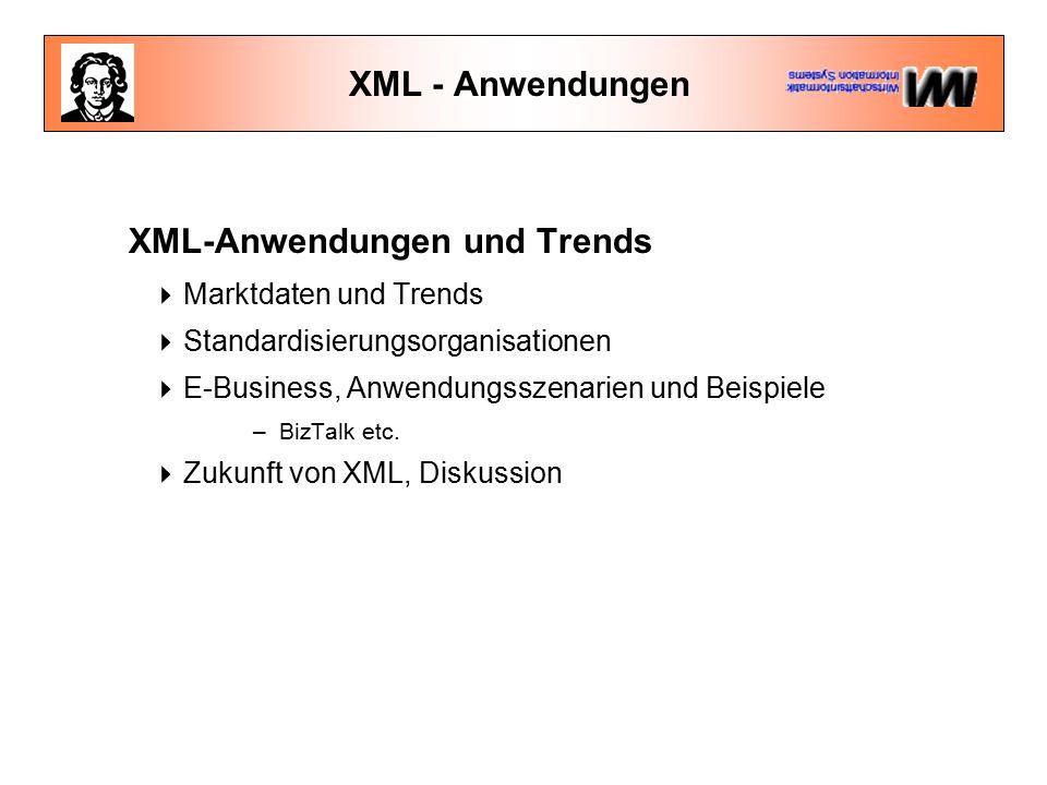 XML - Anwendungen XML-Anwendungen und Trends  Marktdaten und Trends  Standardisierungsorganisationen  E-Business, Anwendungsszenarien und Beispiele –BizTalk etc.