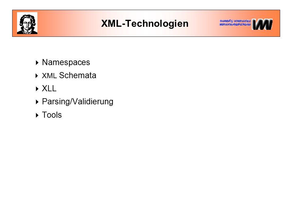 Namespaces in XML  Verteilte Dokumente im Web  Unterschiedliche XML-Autoren  Nutzung unterschiedlicher DTDs (für eigene Dokumente, Datenaustausch mit anderen und Suchmaschinen)  Namenskollisionen:...