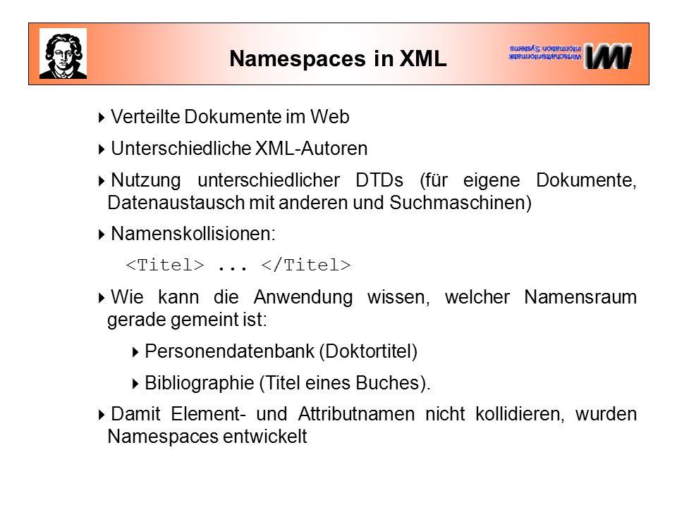 Namespaces in XML Problem: Wie kann ein System erkennen, welche Semantik gemeint ist.