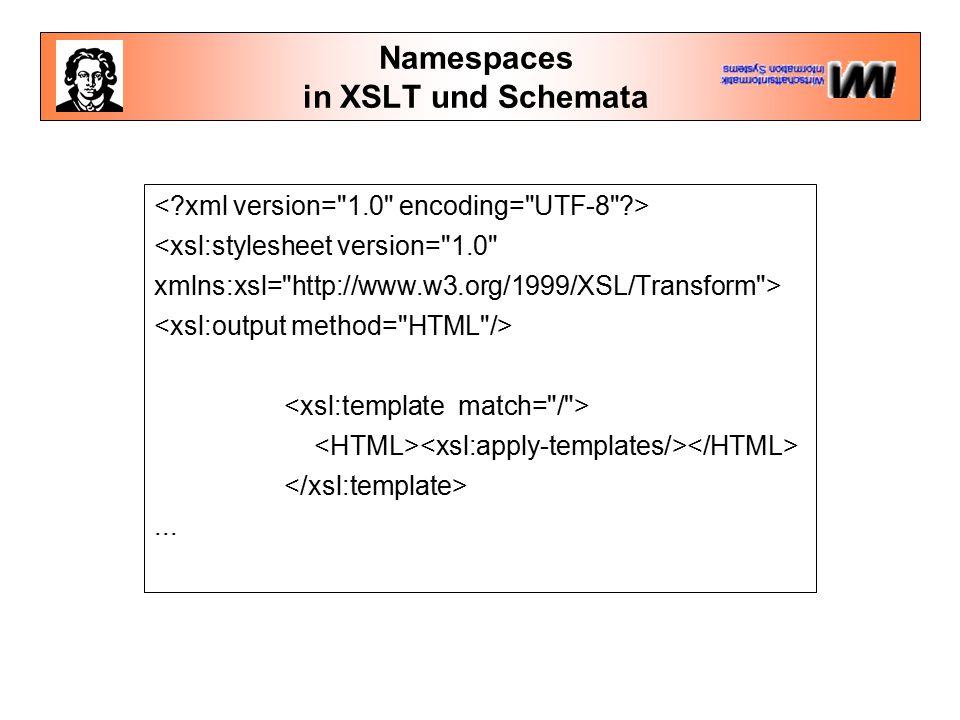 Namespaces in XSLT und Schemata <Schema name= schema_sample_1 xmlns= urn:schemas-microsoft-com:xml-data xmlns:dt= urn:schemas-microsoft-com:datatypes >.....