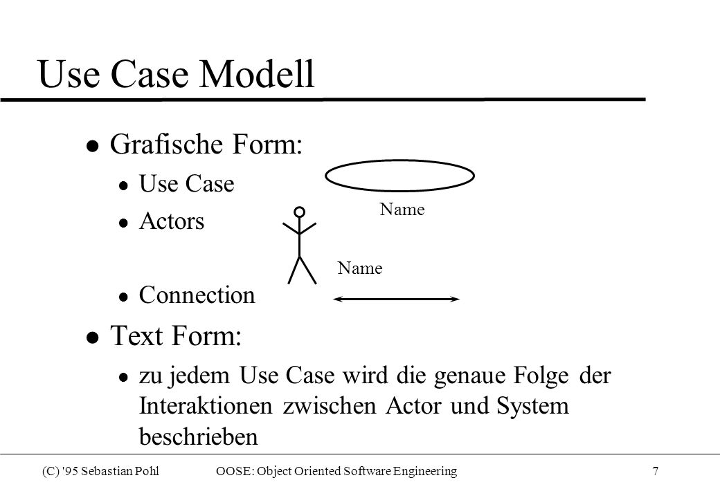 (C) '95 Sebastian Pohl OOSE: Object Oriented Software Engineering7 Use Case Modell l Grafische Form: l Use Case l Actors l Connection l Text Form: l z