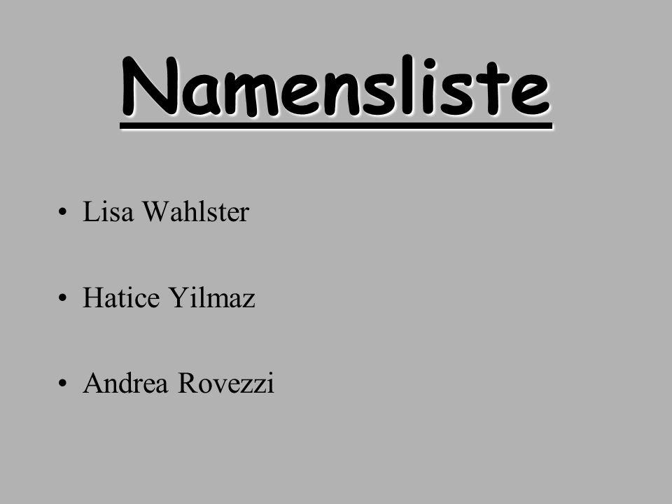 Namensliste Lisa Wahlster Hatice Yilmaz Andrea Rovezzi