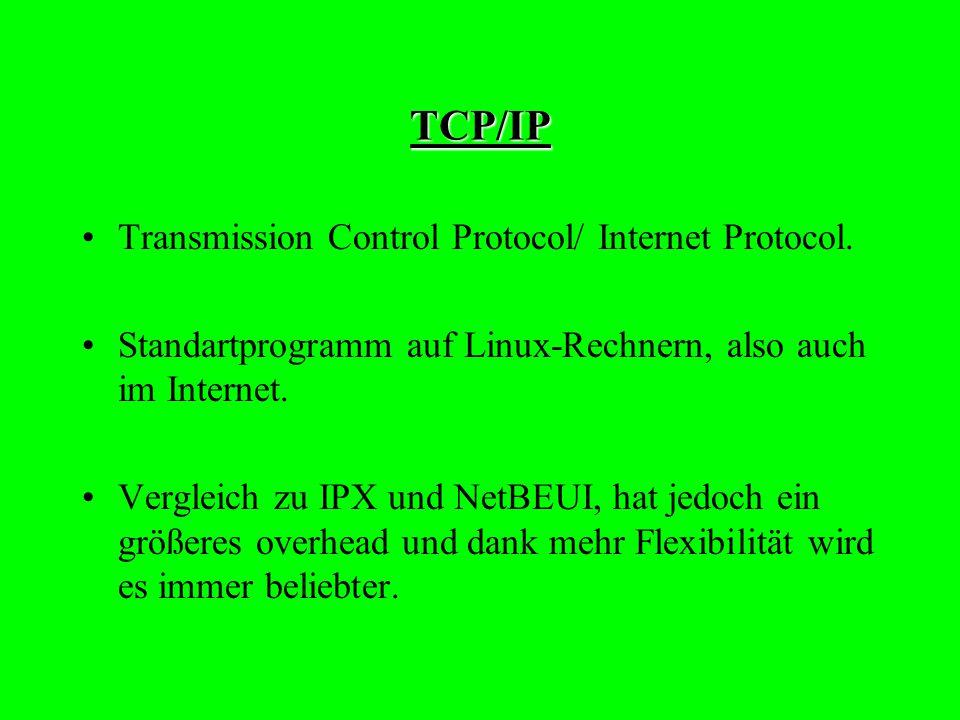 NetBEUI NetBIOS Enhanced User Interface. Erweiterter Protokoll für Netzwerk-Betriebs- systeme. Dieses Protokoll unterstützt kein Routing.