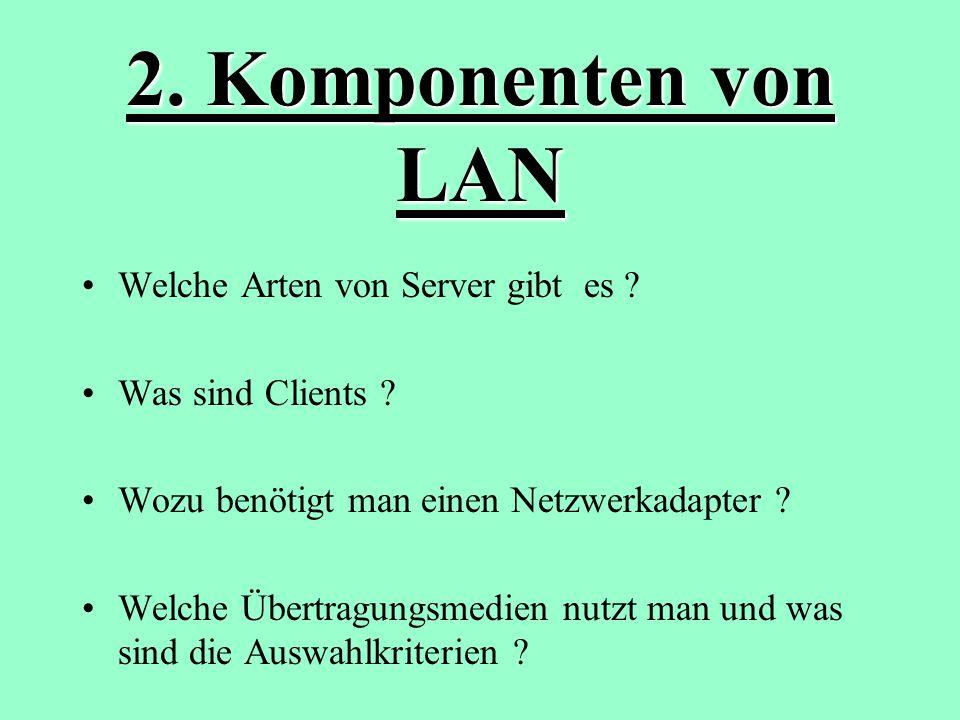 2.Komponenten von LAN Welche Arten von Server gibt es .