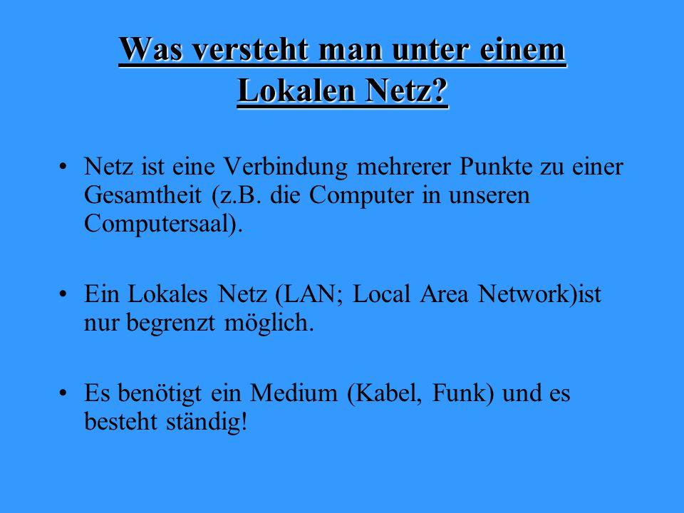 Was versteht man unter einem Lokalen Netz.