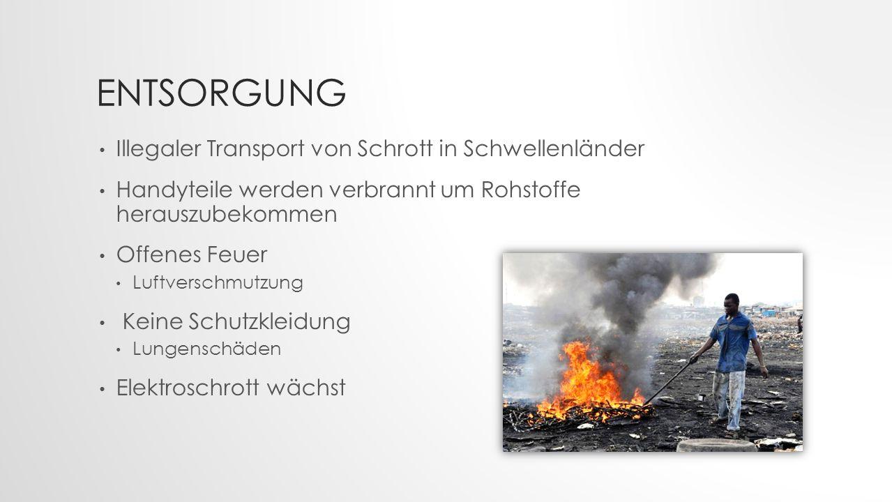 ENTSORGUNG Illegaler Transport von Schrott in Schwellenländer Handyteile werden verbrannt um Rohstoffe herauszubekommen Offenes Feuer Luftverschmutzun