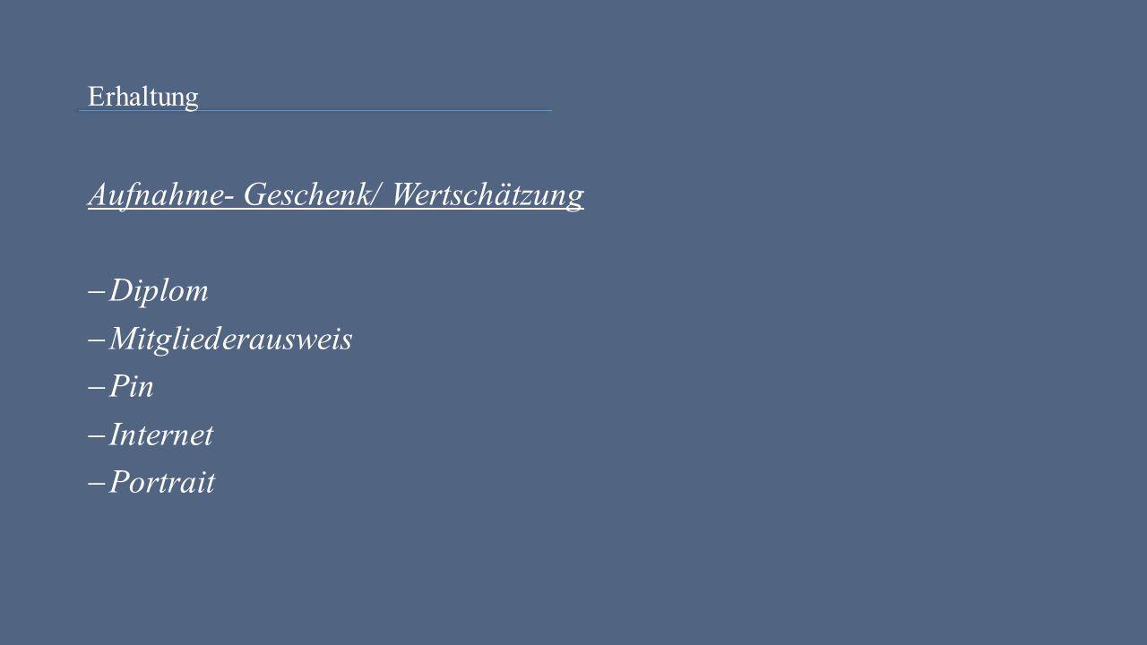 Erhaltung Aufnahme- Geschenk/ Wertschätzung  Diplom  Mitgliederausweis  Pin  Internet  Portrait
