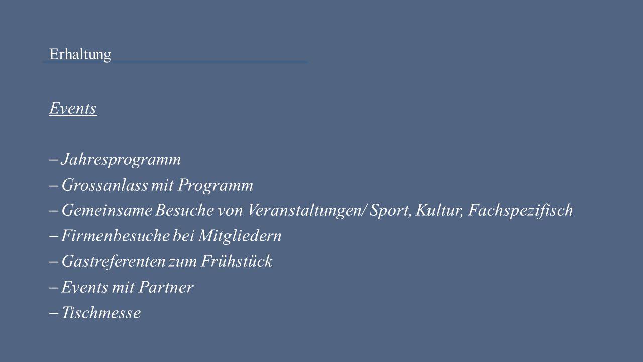 Erhaltung Events  Jahresprogramm  Grossanlass mit Programm  Gemeinsame Besuche von Veranstaltungen/ Sport, Kultur, Fachspezifisch  Firmenbesuche bei Mitgliedern  Gastreferenten zum Frühstück  Events mit Partner  Tischmesse