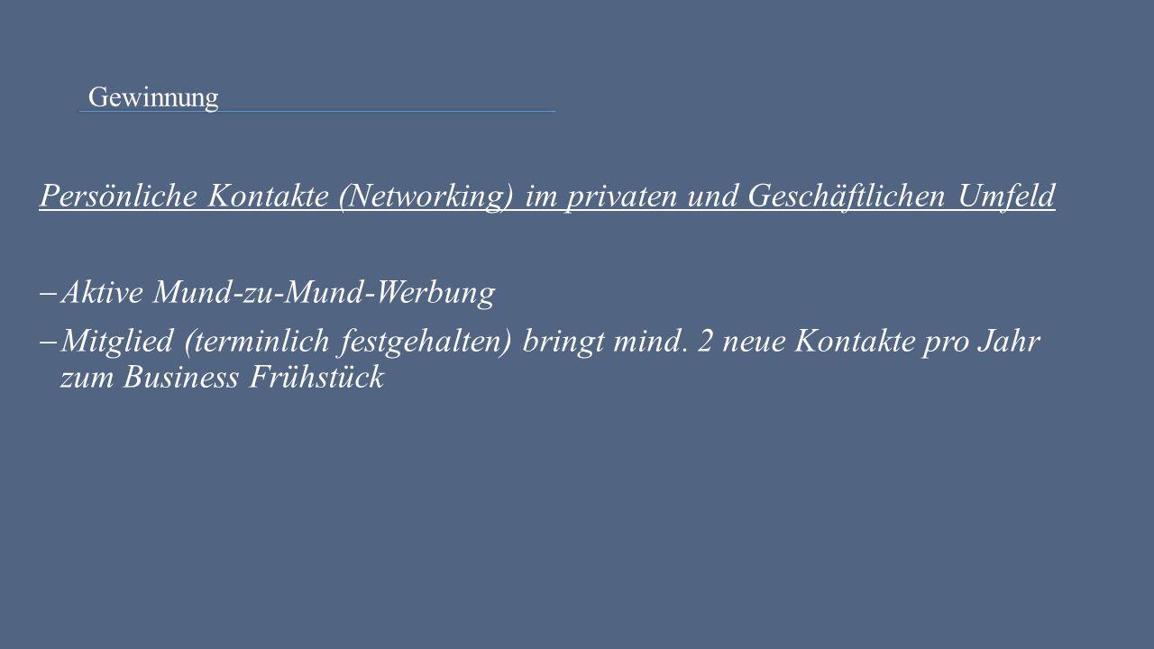Gewinnung Persönliche Kontakte (Networking) im privaten und Geschäftlichen Umfeld  Aktive Mund-zu-Mund-Werbung  Mitglied (terminlich festgehalten) b