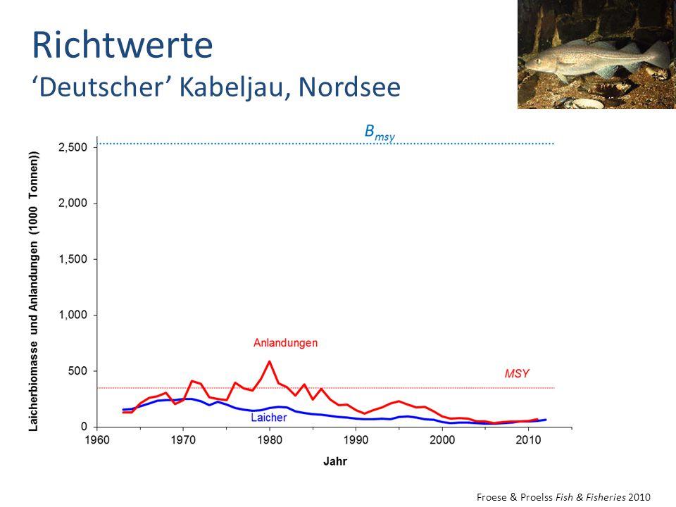 Froese & Proelss Fish & Fisheries 2010 Richtwerte 'Deutscher' Kabeljau, Nordsee