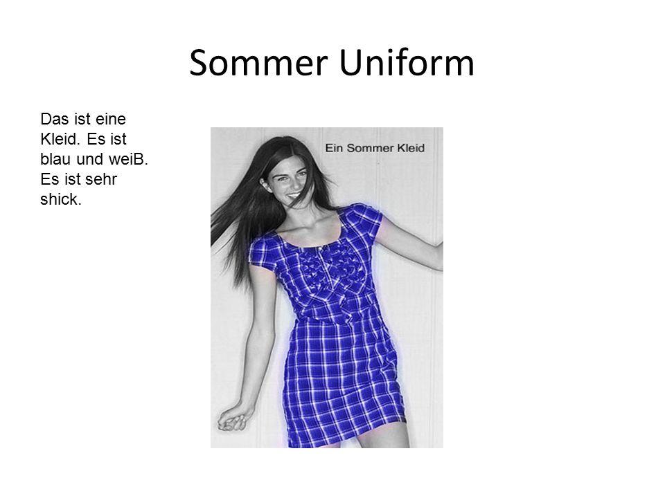 Sommer Uniform Das ist eine Kleid. Es ist blau und weiB. Es ist sehr shick.
