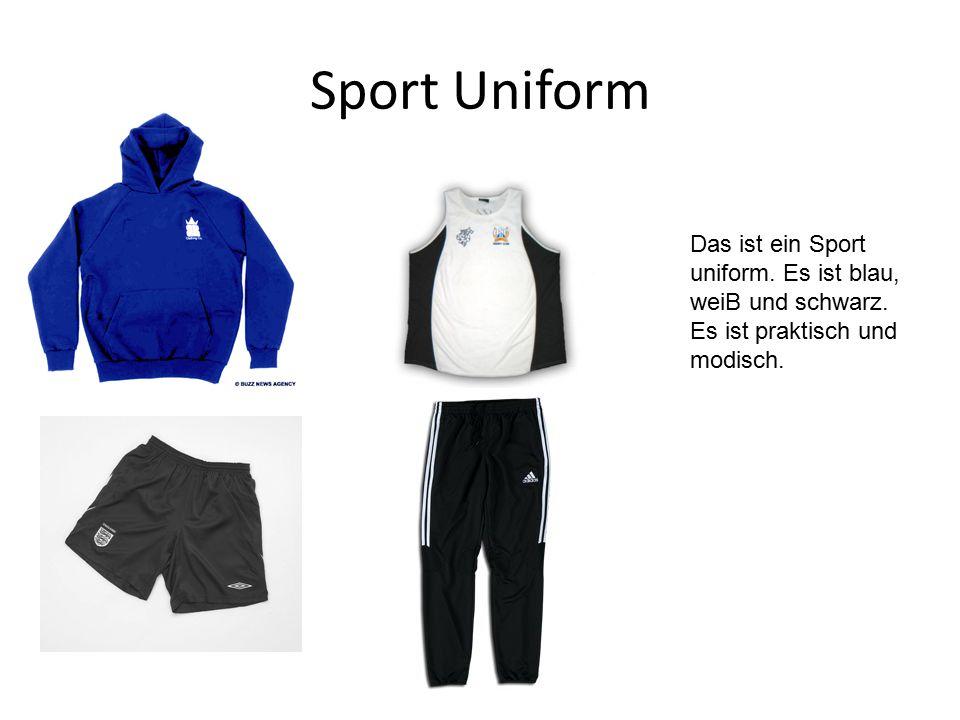 Sport Uniform Das ist ein Sport uniform. Es ist blau, weiB und schwarz. Es ist praktisch und modisch.