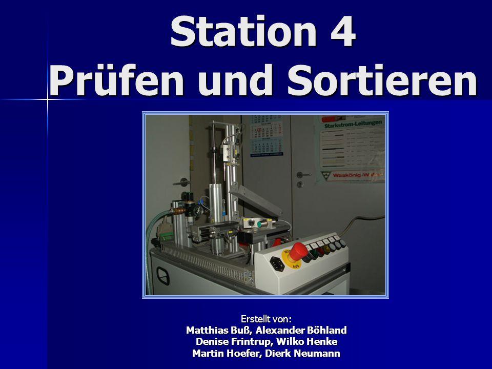 Station 4 Prüfen und Sortieren Erstellt von: Matthias Buß, Alexander Böhland Denise Frintrup, Wilko Henke Martin Hoefer, Dierk Neumann