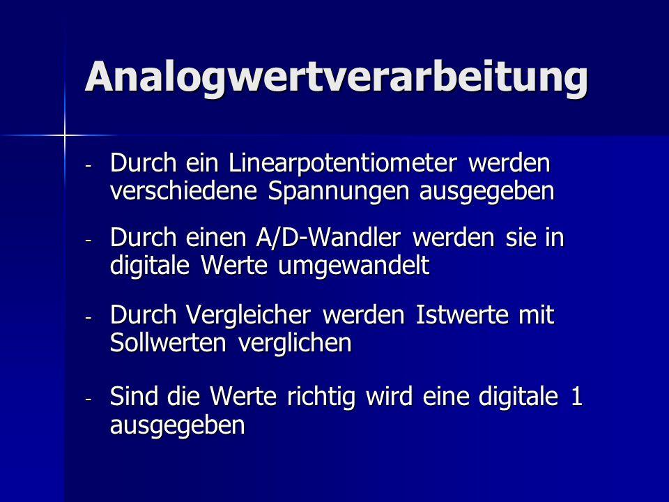 Analogwertverarbeitung - Durch ein Linearpotentiometer werden verschiedene Spannungen ausgegeben - Durch einen A/D-Wandler werden sie in digitale Wert