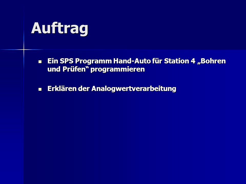 """Auftrag Ein SPS Programm Hand-Auto für Station 4 """"Bohren und Prüfen"""" programmieren Ein SPS Programm Hand-Auto für Station 4 """"Bohren und Prüfen"""" progra"""