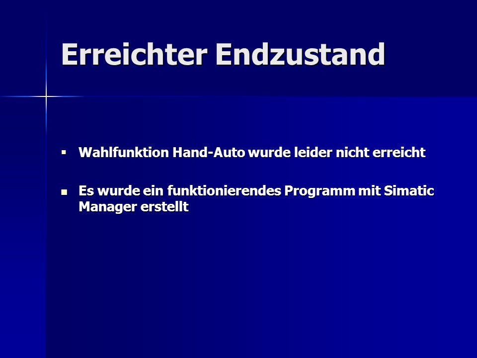 Erreichter Endzustand  Wahlfunktion Hand-Auto wurde leider nicht erreicht Es wurde ein funktionierendes Programm mit Simatic Manager erstellt Es wurd