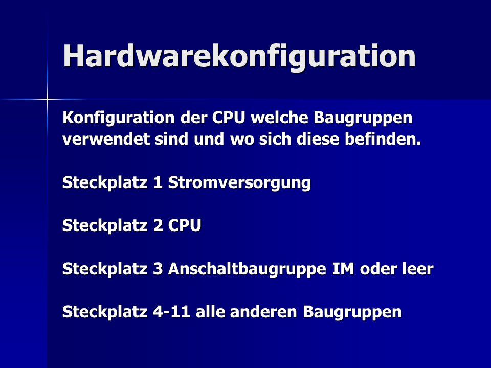 Hardwarekonfiguration Konfiguration der CPU welche Baugruppen verwendet sind und wo sich diese befinden. Steckplatz 1 Stromversorgung Steckplatz 2 CPU