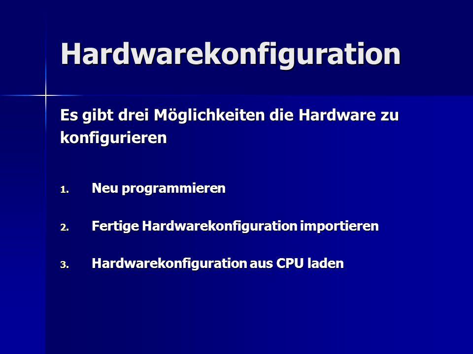 Hardwarekonfiguration Es gibt drei Möglichkeiten die Hardware zu konfigurieren 1. Neu programmieren 2. Fertige Hardwarekonfiguration importieren 3. Ha