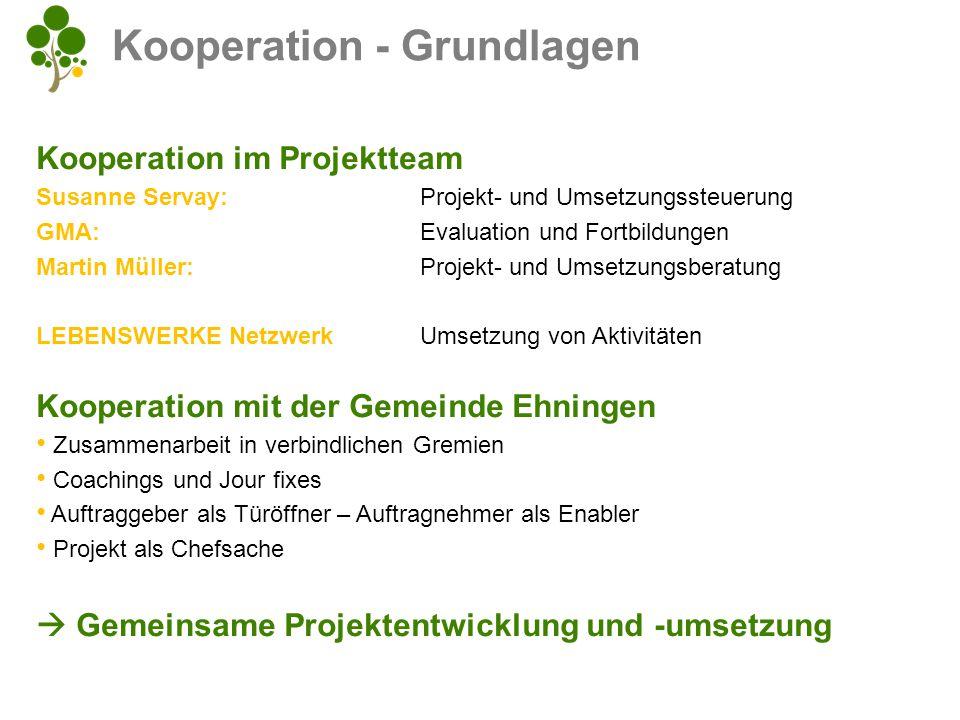 Kooperation im Projektteam Susanne Servay:Projekt- und Umsetzungssteuerung GMA:Evaluation und Fortbildungen Martin Müller: Projekt- und Umsetzungsbera