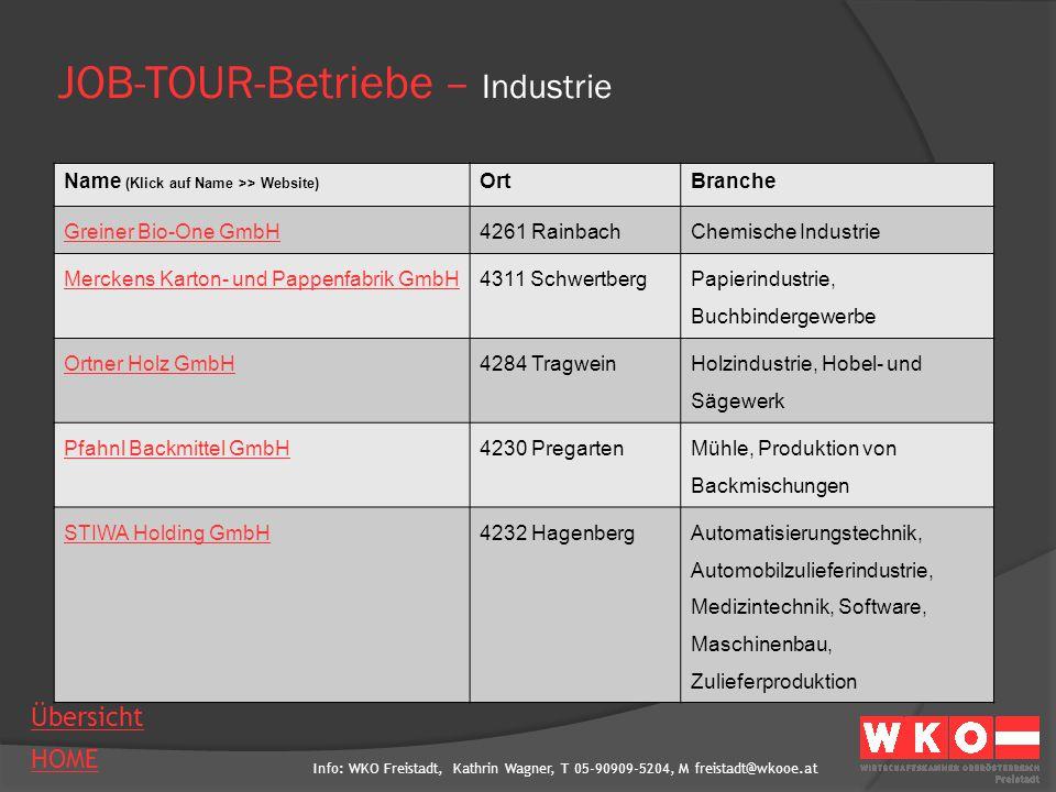 Info: WKO Freistadt, Kathrin Wagner, T 05-90909-5204, M freistadt@wkooe.at HOME Übersicht JOB-TOUR-Betriebe – Industrie Name (Klick auf Name >> Websit