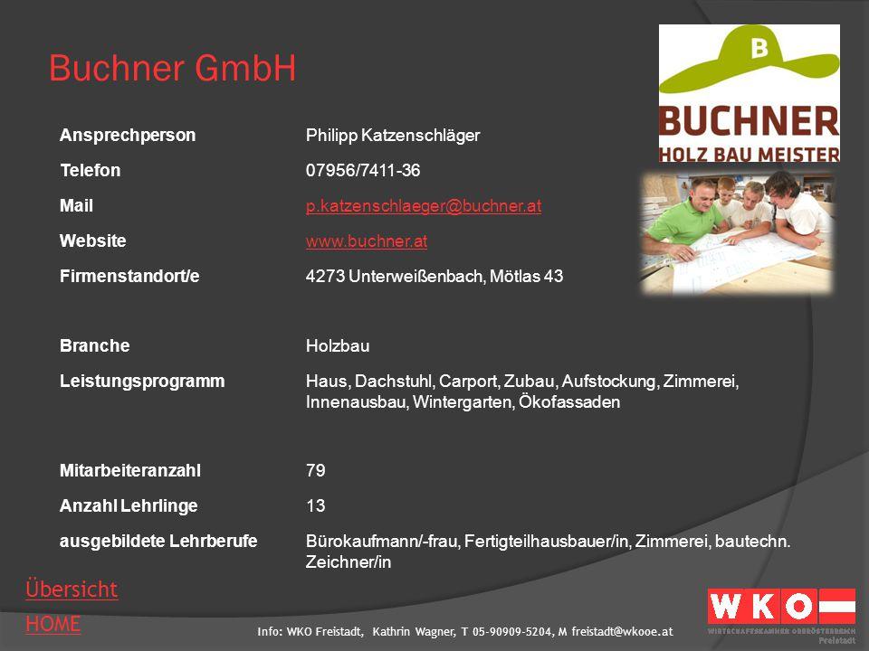 Info: WKO Freistadt, Kathrin Wagner, T 05-90909-5204, M freistadt@wkooe.at HOME Übersicht Buchner GmbH AnsprechpersonPhilipp Katzenschläger Telefon079