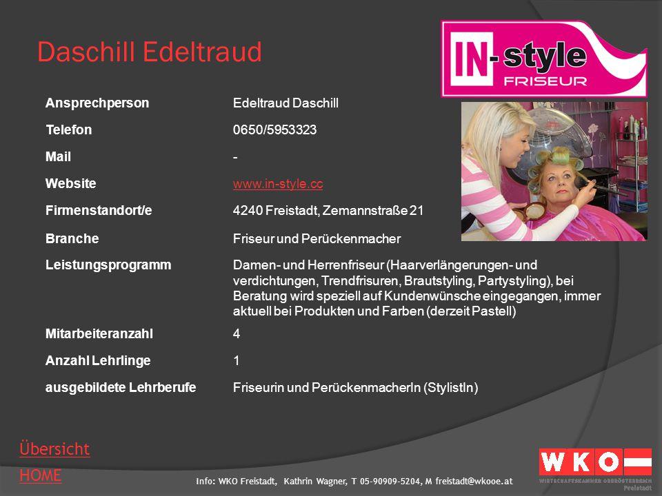 Info: WKO Freistadt, Kathrin Wagner, T 05-90909-5204, M freistadt@wkooe.at HOME Übersicht Daschill Edeltraud AnsprechpersonEdeltraud Daschill Telefon0