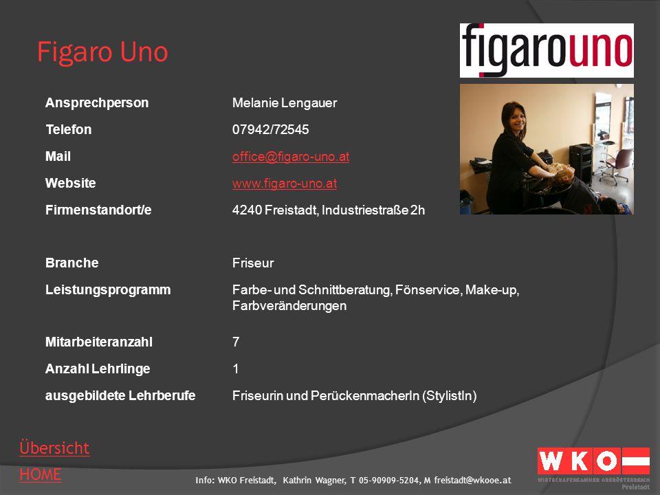Info: WKO Freistadt, Kathrin Wagner, T 05-90909-5204, M freistadt@wkooe.at HOME Übersicht Figaro Uno AnsprechpersonMelanie Lengauer Telefon07942/72545