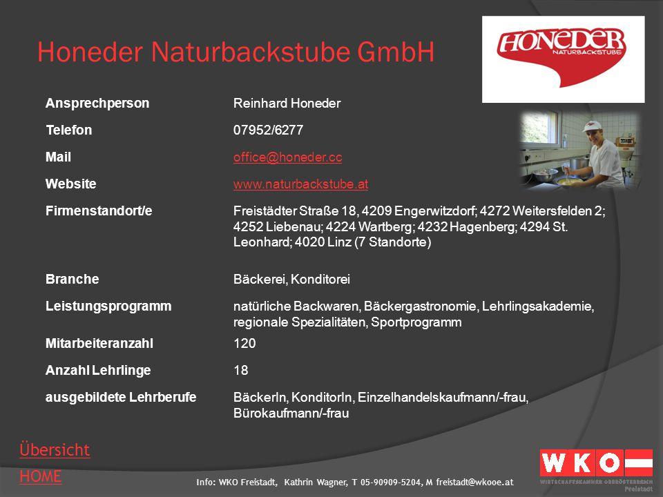 Info: WKO Freistadt, Kathrin Wagner, T 05-90909-5204, M freistadt@wkooe.at HOME Übersicht Honeder Naturbackstube GmbH AnsprechpersonReinhard Honeder T