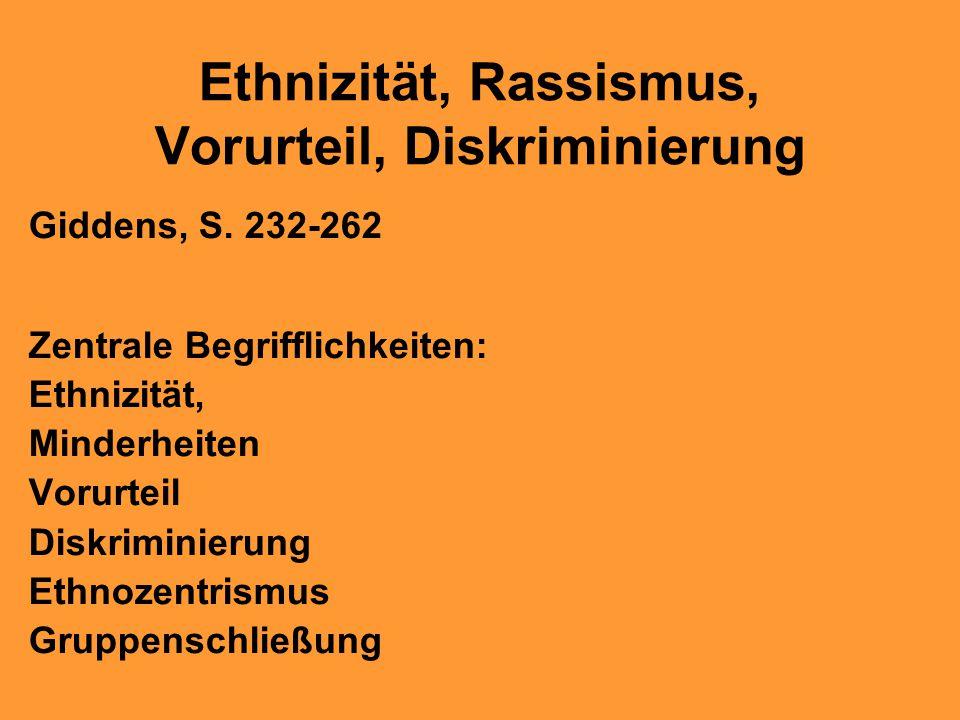 Ethnizität, Rassismus, Vorurteil, Diskriminierung Giddens, S. 232-262 Zentrale Begrifflichkeiten: Ethnizität, Minderheiten Vorurteil Diskriminierung E