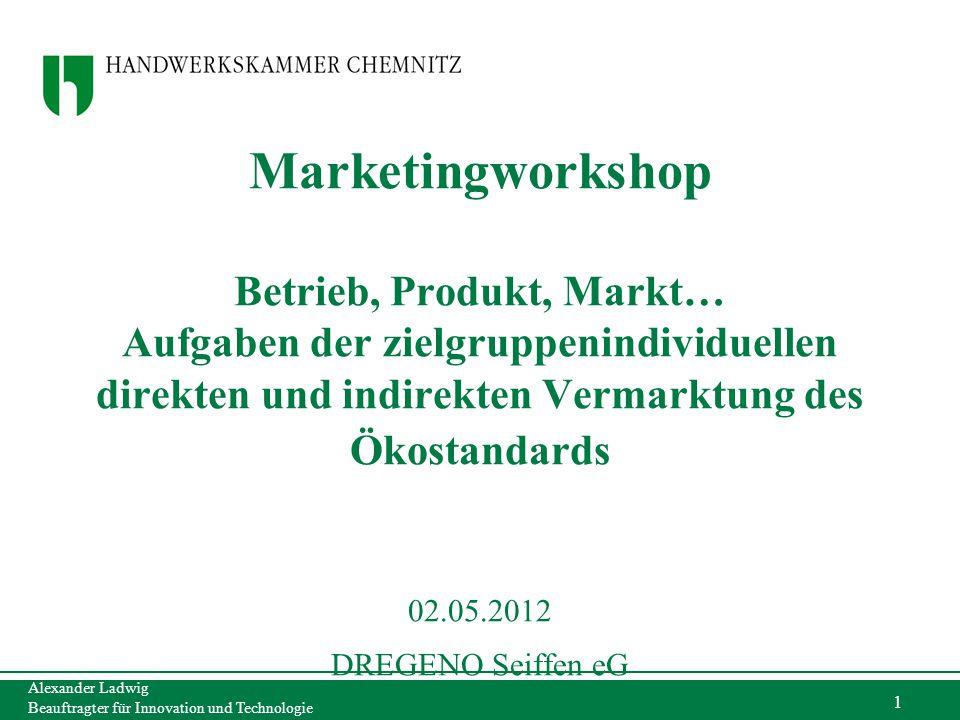 Alexander Ladwig Beauftragter für Innovation und Technologie 1 Marketingworkshop Betrieb, Produkt, Markt… Aufgaben der zielgruppenindividuellen direkt