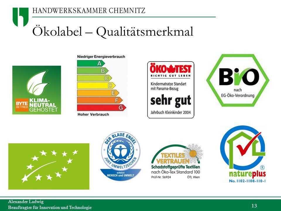 13 Alexander Ladwig Beauftragter für Innovation und Technologie Ökolabel – Qualitätsmerkmal